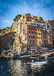 The quaint town of Riomaggiore in Cinque Terre, Italy