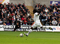 ATTENTION SPORTS PICTURE DESK<br /> Pictured: Jason Scotland of Swansea equalising from the penalty spot.<br /> Re: Coca Cola Championship, Swansea City FC v Doncaster Rovers at the Liberty Stadium. Swansea, south Wales, Saturday 21 February 2009<br /> Picture by D Legakis Photography / Athena Picture Agency, Swansea 07815441513