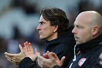 Thomas Frank Manager of Brentford applauds for the late Gordon Banks during the FA Cup Fifth Round match between Swansea City and Brentford at the Liberty Stadium in Swansea, Wales, UK. Sunday 17 February 2019
