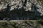 Part of the breakaway group in action during Stage 11 of the 2018 Tour de France running 108.5km from Albertville to La Rosiere Espace San Bernardo, France. 18th July 2018. <br /> Picture: ASO/Pauline Ballet | Cyclefile<br /> All photos usage must carry mandatory copyright credit (&copy; Cyclefile | ASO/Pauline Ballet)
