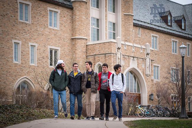 March 9, 2017; Pedro Navarro '20 (center) international student from Brazil, walks with fellow Brazilian undergraduates. (Photo by Matt Cashore/University of Notre Dame)