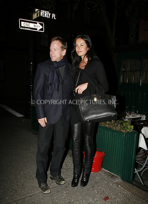 WWW.ACEPIXS.COM . . . . .  ....April 19 2008, New York City....Actor Keifer Sutherland and guest at the Waverley Inn in The West Village.....Please byline: NANCY RIVERA- ACE PICTURES.... *** ***..Ace Pictures, Inc:  ..tel: (646) 769 0430..e-mail: info@acepixs.com..web: http://www.acepixs.com