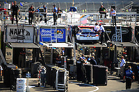 May 30, 2008; Dover, DE, USA; Crew members for Nascar Nationwide Series driver David Reutimann unload the backup car after an incident during practice for the Heluva Good 200 at the Dover International Speedway. Mandatory Credit: Mark J. Rebilas-US PRESSWIRE