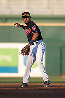 AZL Indians 1 shortstop Marcos Gonzalez (1) makes a throw to first base during an Arizona League game against the AZL White Sox at Goodyear Ballpark on June 20, 2018 in Goodyear, Arizona. AZL Indians 1 defeated AZL White Sox 8-7. (Zachary Lucy/Four Seam Images)