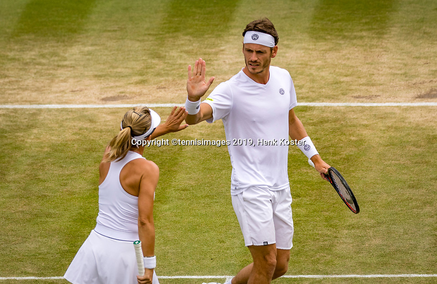 London, England, 11 July, 2019, Tennis,  Wimbledon, Mixed doubles: Kveta Peschke (CZE) and Wesley Koolhof (NED)<br /> Photo: Henk Koster/tennisimages.com