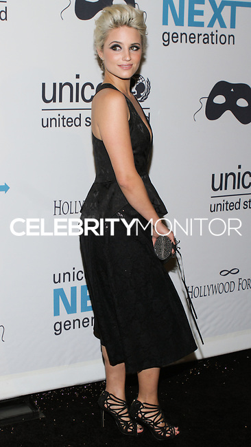 HOLLYWOOD, LOS ANGELES, CA, USA - OCTOBER 30: Dianna Agron arrives at UNICEF's Next Generation's 2nd Annual UNICEF Masquerade Ball held at the Masonic Lodge at the Hollywood Forever Cemetery on October 30, 2014 in Hollywood, Los Angeles, California, United States. (Photo by Rudy Torres/Celebrity Monitor)