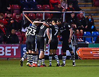 Lincoln City celebrate their third, from Crewe Alexandra's Michael Raynes Own Goal<br /> <br /> Photographer Andrew Vaughan/CameraSport<br /> <br /> The EFL Sky Bet League Two - Crewe Alexandra v Lincoln City - Saturday 11th November 2017 - Alexandra Stadium - Crewe<br /> <br /> World Copyright &copy; 2017 CameraSport. All rights reserved. 43 Linden Ave. Countesthorpe. Leicester. England. LE8 5PG - Tel: +44 (0) 116 277 4147 - admin@camerasport.com - www.camerasport.com