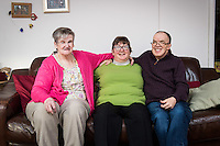 FAO: Society <br /> Pictured: L-R: Mandy Patton, Sharon Wieland, Tim Younger<br /> Re: Care worker Alys Phillips, 23, who looks after people with learning disabilities in Brecon, mid Wales, UK. Wednesday 01 February 2017