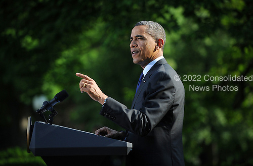 United States President Barack Obama speaks during a Cinco de Mayo reception in the Rose Garden at the White House in Washington, DC, on May 3, 2012..Credit: Olivier Douliery / Pool via CNP