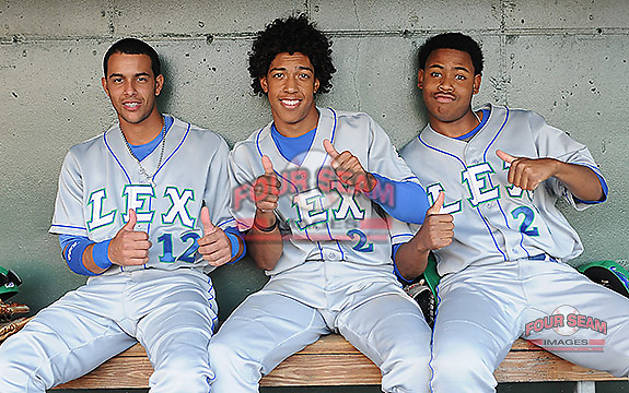 Photo of the Lexington Legends in a game against the Greenville Drive on Friday, August 16, 2013, at Fluor Field at the West End in Greenville, South Carolina. (Tom Priddy/Four Seam Images)