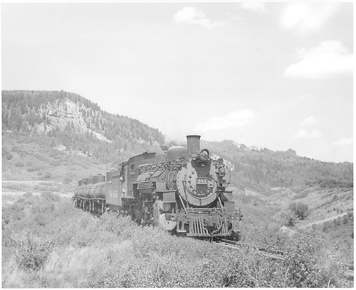 Front view of K-36 #483 hauling tank cars.<br /> D&amp;RGW  Chama to Cumbres, NM  Taken by McMurtry, W. Larry - 6/1959