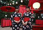 """September 27, 2019, Tokyo, Japan - Models wear yukata casual kimono with French fashion giant Chanel's logo marks at a press preview of Chanel's cosmetics promotional event """"Chanel Matsuri"""" (Chanel festival) at the Tenso shrine in Tokyo on Thursday, September 27, 2018. Japan's 15-year-old model Koki, a daughter of Japanese actor Takuya Kimura and singer Shizuka Kudo became Chanel's beauty ambassador this month.   (Photo by Yoshio Tsunoda/AFLO) LWX -ytd-"""