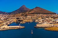 Aerial view of Table Bay Harbour, Cape Town,  South Africa.