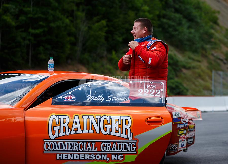 Jun 17, 2017; Bristol, TN, USA; NHRA pro stock driver Wally Stroupe during qualifying for the Thunder Valley Nationals at Bristol Dragway. Mandatory Credit: Mark J. Rebilas-USA TODAY Sports
