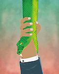 Illustrative image of businessman's hand holding snake representing business crime