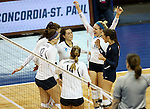 SIOUX FALLS, SD - DECEMBER 9:  Concordia St. Paul celebrates a point against Lewis during their semifinal match of the Women's Division II Women's Volleyball Championship at the Sanford Pentagon in Sioux Falls, SD. (Photo by Dave Eggen/Inertia)  (Photo by Dave Eggen/Inertia)