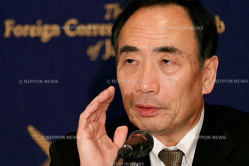 Yasunori Kagoike, head of school operator Moritomo Gakuen, speaks to members of the press at the Foreign Correspondents' Club of Japan on March 23, 2017 in Tokyo, Japan. Kagoike, who's schools are renowned for their nationalist approach to education, had earlier testified under oath before a Japanese parliamentary committee that he had received an envelope containing 1 million Yen (approx. USD 9,000) in cash as a gift from Akie Abe the wife of Japanese Prime Minister Shinzo Abe. Abe and his wife have previously denied giving any financial support to the educator with the Prime Minister even offering to resign in the event that this was proved wrong. (Photo by Rodrigo Reyes Marin/AFLO)