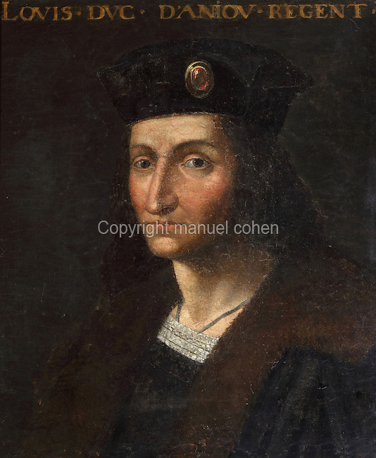 Portrait of Louis I, Duke of Anjou, 1339-84, in the Galerie des Illustres or Gallery of Portraits, early 17th century, in the Chateau de Beauregard, a Renaissance chateau in the Loire Valley, built c. 1545 under Jean du Thiers and further developed after 1617 by Paul Ardier, Comptroller of Wars and Treasurer, in Cellettes, Loir-et-Cher, Centre, France. The Gallery of Portraits is a 26m long room with lapis lazuli ceiling, Delftware tiled floor and decorated with 327 portraits of important European figures living 1328-1643, in the times of Henri III, Henri IV and Louis XIII. The chateau is listed as a historic monument. Picture by Manuel Cohen