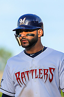 Milwaukee Brewers second baseman Jonathan Villar (3) during a rehab appearance with the Wisconsin Timber Rattlers in game one of a Midwest League doubleheader against the Kane County Cougars on June 23, 2017 at Fox Cities Stadium in Appleton, Wisconsin.  Kane County defeated Wisconsin 4-3. (Brad Krause/Krause Sports Photography)