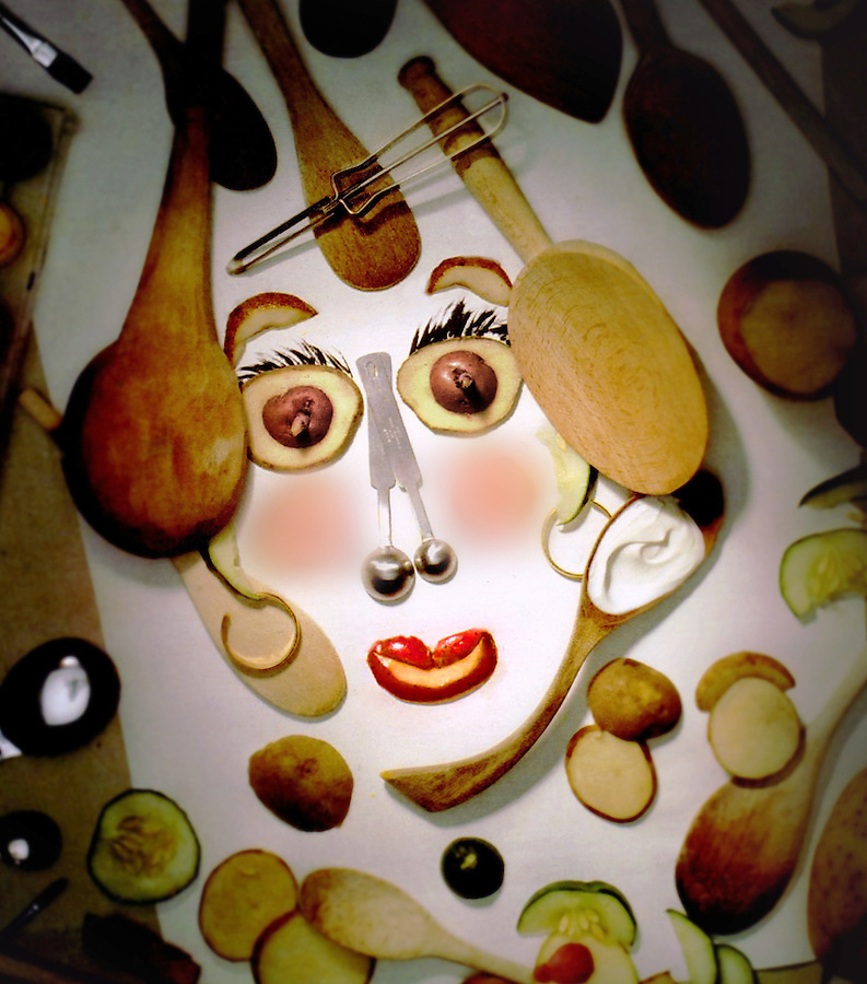 Using food as cosmetics illustration was set up by the photographer with his original concept.