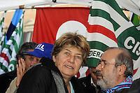 Roma, 12 Dicembre 2011.Piazza Montecitorio.I sindacati CGIL, UIL,CISL, e UGL manifestano uniti davanti il Parlamento contro la manovra finanziaria e i tagli Susanna Camusso