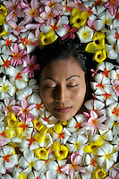 SPA TREATMENT, IN A FLOWER BATH, PALAU MICRONESIA