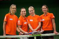 29-1-10, Almere, Tennis, Training Fedcup team, v.l.n.r.: Arantxa Rus, Nicole Thyssen, Richel Hogenkamp en Chayenne Ewijk