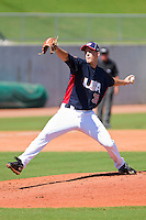 Starting pitcher Drew Smyly #38 of the United States World Cup/Pan Am Team in action against Team Canada at the USA Baseball National Training Center on September 29, 2011 in Cary, North Carolina.  (Brian Westerholt / Four Seam Images)