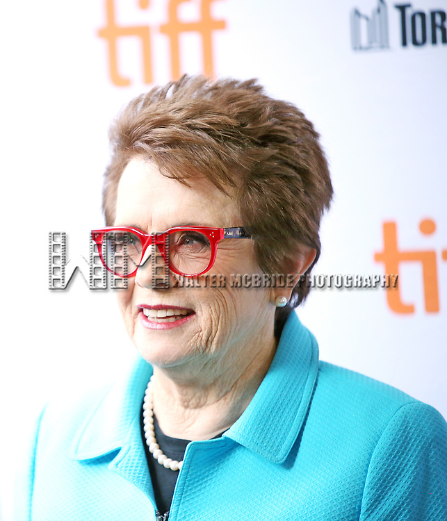 Billie Jean King attends the 'Battle of the Sexesl' premiere during the 2017 Toronto International Film Festival at Ryerson Theatre on September 10, 2017 in Toronto, Canada.