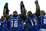 November 7, 2009:  Air Force players celebrate their victory following the annual battle between the Army Black Knights and the Air Force Falcons at Falcon Stadium, U.S. Air Force Academy, Colorado Springs, CO.  Air Force defeats Army 35-7.