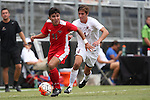30 August 2015: Saint Mary's Gerardo Mendoza (11) and Elon's Nicholas O'Callaghan (4). The Elon University Phoenix played the Saint Mary's College Gaels at Koskinen Stadium in Durham, NC in a 2015 NCAA Division I Men's Soccer match. Elon won the game 1-0.