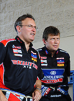 Jul, 10, 2011; Joliet, IL, USA: NHRA top fuel dragster driver Doug Kalitta (left) with teammate David Grubnic during the Route 66 Nationals at Route 66 Raceway. Mandatory Credit: Mark J. Rebilas-