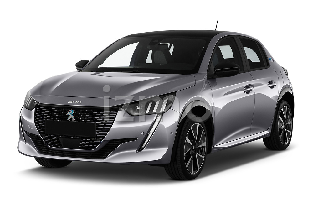 2020 Peugeot e-208 GT 5 Door Hatchback Angular Front automotive stock photos of front three quarter view