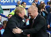 1st October 2017, Goodison Park, Liverpool, England; EPL Premier League Football, Everton versus Burnley; Ronald Koeman, manager of Everton greets Sean Dyche, Burnley manager before the kick off