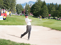 Rory Mcilroy (NIR) in action on the 17th hole during third round at the Omega European Masters, Golf Club Crans-sur-Sierre, Crans-Montana, Valais, Switzerland. 31/08/19.<br /> Picture Stefano DiMaria / Golffile.ie<br /> <br /> All photo usage must carry mandatory copyright credit (© Golffile | Stefano DiMaria)