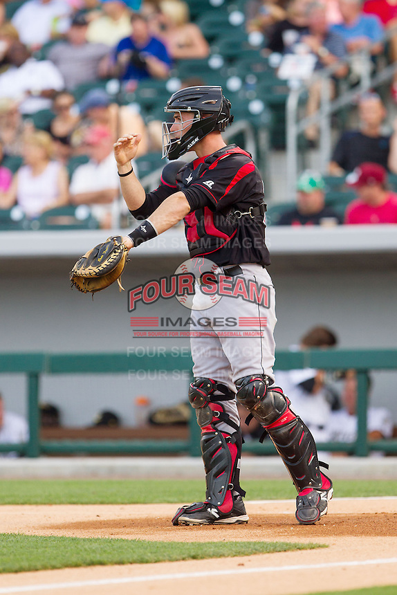 Rochester Red Wings catcher Eric Fryer (25) gives defensive signs during the game against the Charlotte Knights at BB&T Ballpark on June 5, 2014 in Charlotte, North Carolina.  The Knights defeated the Red Wings 7-6.  (Brian Westerholt/Four Seam Images)
