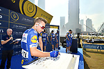 Elia Viviani (ITA) Quick-Step Floors at sign on before the start of Stage 2 The  Ras Al Khaimah Stage of the Dubai Tour 2018 the Dubai Tour&rsquo;s 5th edition, running 190km from Skydive Dubai to Ras Al Khaimah, Dubai, United Arab Emirates. 7th February 2018.<br /> Picture: LaPresse/Massimo Paolone | Cyclefile<br /> <br /> <br /> All photos usage must carry mandatory copyright credit (&copy; Cyclefile | LaPresse/Massimo Paolone)