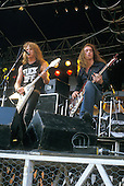 METALLICA - vocalist James Hetfield and bassist Cliff Burton - performing live at the Heavy Sound Festival in Poperinge Belgium - 10 Jun 1984.  Photo credit: Alex Mitram/Dalle/IconicPix