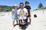 Blackcaps' Ross Taylor with fans and the Cricket World Cup during the ICC Cricket World Cup 2019 Trophy Tour at Tahunanui Beach Nelson on Monday the 7th January 2019. Copyright Photo by  / Shuttersport
