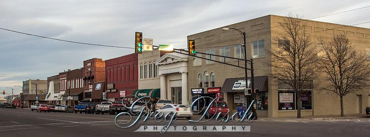 Route 66 thru downtown Weatherford Oklahoma.
