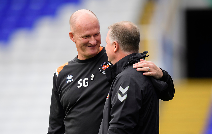 Blackpool manager Simon Grayson, left, and Coventry City manager Mark Robins<br /> <br /> Photographer Chris Vaughan/CameraSport<br /> <br /> The EFL Sky Bet League One - Coventry City v Blackpool - Saturday 7th September 2019 - St Andrew's - Birmingham<br /> <br /> World Copyright © 2019 CameraSport. All rights reserved. 43 Linden Ave. Countesthorpe. Leicester. England. LE8 5PG - Tel: +44 (0) 116 277 4147 - admin@camerasport.com - www.camerasport.com