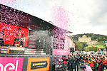 Race leader Primoz Roglic (SLO) Team Jumbo-Visma retains the Maglia Rosa at the end of Stage 4 of the 2019 Giro d'Italia, running 235km from Orbetello to Frascati, Italy. 14th May 2019<br /> Picture: Massimo Paolone/LaPresse | Cyclefile<br /> <br /> All photos usage must carry mandatory copyright credit (© Cyclefile | Massimo Paolone/LaPresse)