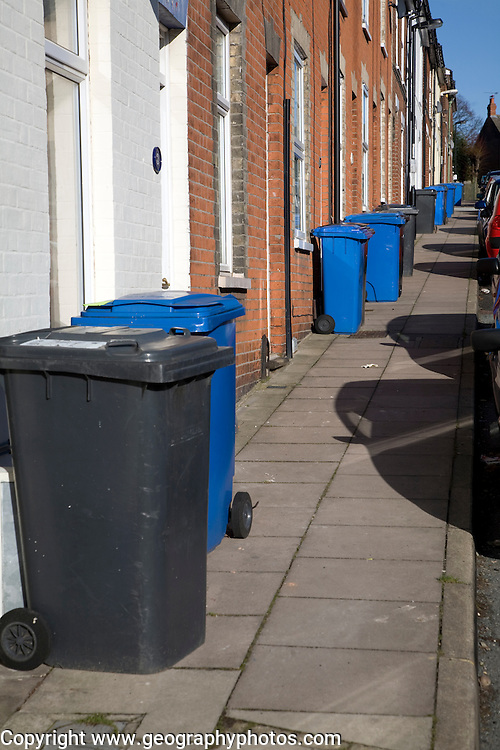 Rubbish bins for collection outside terraced houses, Ipswich, Suffolk, England