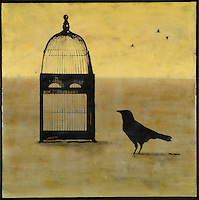 The individual - crow with cage in mixed media encaustic photo transfer by Jeff League.