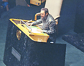 President Fidel Castro of Cuba addresses the United Nations General Assembly in New York, New York on October 15, 1979.  Castro's speech discussed the disparity between the world's rich and the world's poor.<br /> Credit: Arnie Sachs / CNP