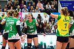05.10.2019, Halle Berg Fidel, Muenster<br />Volleyball, Bundesliga Frauen, Normalrunde, USC MŸnster / Muenster vs. Allianz MTV Stuttgart<br /><br />Jubel Barbara Roxana Wezorke (#11 Muenster), Luisa Keller (#3 Muenster), Sarah Emma van Aalen (#10 Muenster), Linda Bock (#1 Muenster), Ivana Vanjak (#7 Muenster)<br /><br />  Foto © nordphoto / Kurth