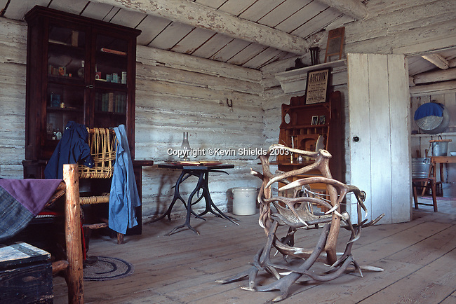 Cabin interior with elk antler furniture, Menor's Ferry Historic Area, Grand Teton National Park, Wyoming, USA