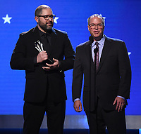 SANTA MONICA, CA - JANUARY 12:  Josh Cooley and Mark Nielsen accept the Best Animated Feature award for 'Toy Story 4'  onstage at the 25th Annual Critics' Choice Awards at the Barker Hangar on January 12, 2020 in Santa Monica, California. (Photo by Frank Micelotta/PictureGroup)