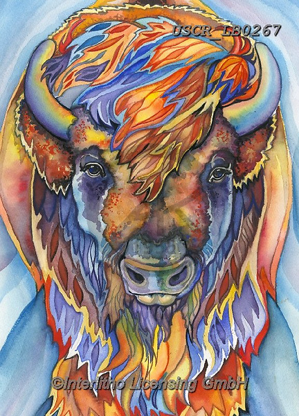 ,REALISTIC ANIMALS, REALISTISCHE TIERE, ANIMALES REALISTICOS, paintings+++++,USCRLB0267,#a#, EVERYDAY,buffalo ,innovative