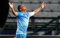 MANIZALES - COLOMBIA, 16-08-2015: Ricardo Degado (Izq) del Jaguares FC celebra un gol anotado a Once Caldas durante partido por la fecha 6 de la Liga Águila II 2015 jugado en el estadio Palogrande de la ciudad de Manizales./ Ricardo Delgado (L) player of Jaguares FC celebrates a goal scored to Once Caldas during match valid for the 6th date of the Aguila League II 2015 played at Palogrande stadium in Manizales city. Photo: VizzorImage / Santiago Osorio /